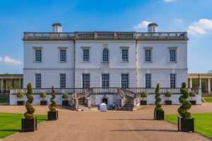 View of the Queen's house an historic landmark and travel destination in Greenwich on April 20, 2018 in London